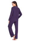 Women'S Long-Sleeve Full-Length Cosy Home Suit-Purple 2