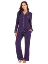 Women'S Long-Sleeve Full-Length Cosy Home Suit-Purple 1
