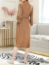 Fashion Tie Waist Thin Casual Robes For Women-Brown 2