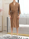 Fashion Tie Waist Thin Casual Robes For Women-Brown 3
