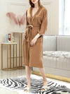 Fashion Tie Waist Thin Casual Robes For Women-Brown 1