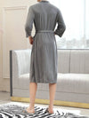 Fashion Tie Waist Thin Casual Robes For Women-Grey 2