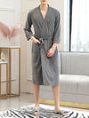 Fashion Tie Waist Thin Casual Robes For Women-Grey 1