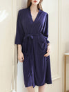 Fashion Tie Waist Thin Casual Robes For Women-Navy Blue 2