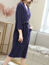 Fashion Tie Waist Thin Casual Robes For Women-Navy Blue 3