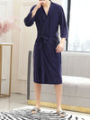 Fashion Tie Waist Thin Casual Robes For Women-Navy Blue 1