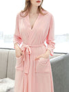 Fashion Tie Waist Thin Casual Robes For Women-Pink 3
