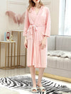 Fashion Tie Waist Thin Casual Robes For Women-Pink 1