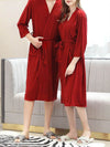 Fashion Tie Waist Thin Casual Robes For Women-Red 3