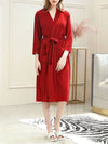Fashion Tie Waist Thin Casual Robes For Women-Red 1