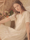 Women'S Cotton Long-Sleeves Lace Cosy Nightdress -Blush 2