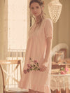 Women'S Cotton Long-Sleeves Lace Cosy Nightdress -Peach 3