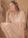 Women'S Cotton Long-Sleeves Lace Cosy Nightdress -Peach 4