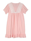 Women'S Cotton Long-Sleeves Lace Cosy Nightdress -Peach 1