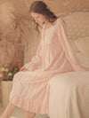 Women'S Cotton Long-Sleeves Lace Cosy Nightdress -Pink 2