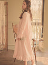 Women'S Cotton Long-Sleeves Lace Cosy Nightdress -Pink 3