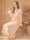 Women'S Cotton Long-Sleeves Lace Cosy Nightdress -Pink 4