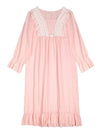 Women'S Cotton Long-Sleeves Lace Cosy Nightdress -Pink 1
