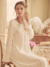 Women'S Cotton Long-Sleeves Lace Cosy Nightdress -White 2