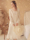 Women'S Cotton Long-Sleeves Lace Cosy Nightdress -White 1