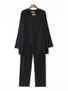 Plus-Size Women'S Modal Long-Sleeved Three Pieces Nightwear-Black 1