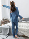 Plus-Size Women'S Modal Long-Sleeved Three Pieces Nightwear-Sky Blue 2