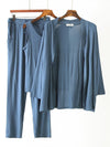 Plus-Size Women'S Modal Long-Sleeved Three Pieces Nightwear-Sky Blue 4