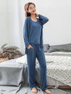Plus-Size Women'S Modal Long-Sleeved Three Pieces Nightwear-Sky Blue 1