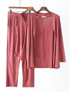 Plus-Size Women'S Modal Long-Sleeved Three Pieces Nightwear-Coral 2