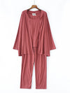 Plus-Size Women'S Modal Long-Sleeved Three Pieces Nightwear-Coral 1