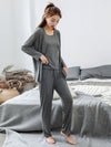 Plus-Size Women'S Modal Long-Sleeved Three Pieces Nightwear-Grey 3