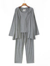 Plus-Size Women'S Modal Long-Sleeved Three Pieces Nightwear-Grey 1