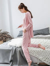 Plus-Size Women'S Modal Long-Sleeved Three Pieces Nightwear-Pink 2