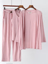 Plus-Size Women'S Modal Long-Sleeved Three Pieces Nightwear-Pink 4