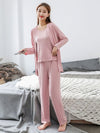 Plus-Size Women'S Modal Long-Sleeved Three Pieces Nightwear-Pink 1