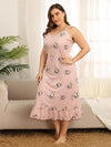 Plus Size Summer Pajamas Fashion Cotton Sling Sleeveless Nightwear-Pink 4
