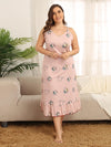Plus Size Summer Pajamas Fashion Cotton Sling Sleeveless Nightwear-Pink 1