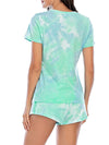 Simple Tie-Dye Two-Piece Pajama Sets For Women-Green 2