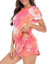 Simple Tie-Dye Two-Piece Pajama Sets For Women-Red 3