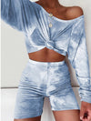 Cute Tie-Dye Sets With Long Sleeve Crop Tops & Shorts-Sky Blue 1