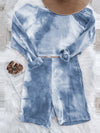 Cute Tie-Dye Sets With Long Sleeve Crop Tops & Shorts-Sky Blue 2