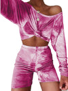 Cute Tie-Dye Sets With Long Sleeve Crop Tops & Shorts-Hot Pink 1