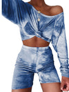 Cute Tie-Dye Sets With Long Sleeve Crop Tops & Shorts-Sapphire Blue 1