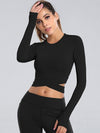 Women'S Cross Long Sleeve Short Sports Tops For Yoga-Black 2