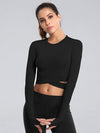 Women'S Cross Long Sleeve Short Sports Tops For Yoga-Black 1