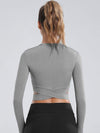 Women'S Cross Long Sleeve Short Sports Tops For Yoga-Grey 2