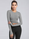 Women'S Cross Long Sleeve Short Sports Tops For Yoga-Grey 1