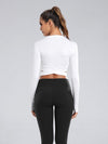 Women'S Cross Long Sleeve Short Sports Tops For Yoga-White 2