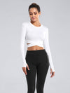 Women'S Cross Long Sleeve Short Sports Tops For Yoga-White 1
