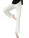 Elegant Flared Long Casual Pants For Dancing & Yoga-White 1